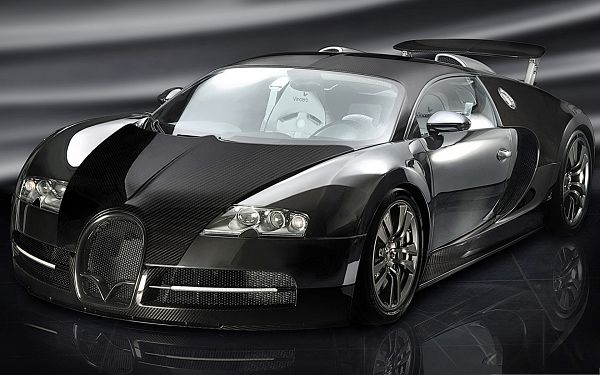click to free download the wallpaper--Bugatti Super Car Wallpaper, Black Luxurious Car in the Stop, Wins Utmost Attention