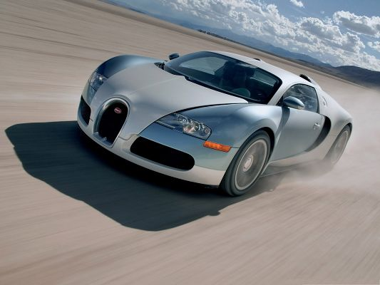 Bugatti Super Cars, Sports Car Running in the Desert, Thick Smoke Behind