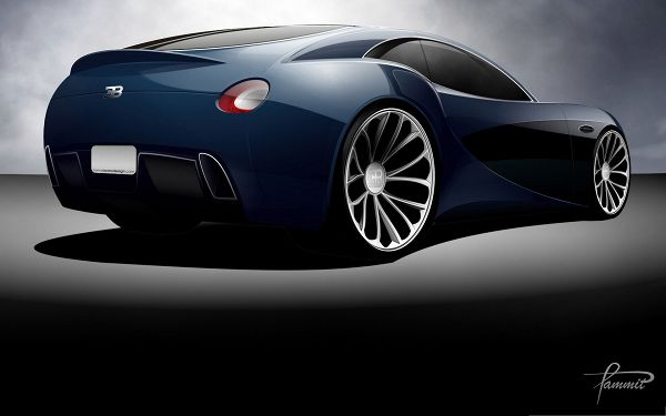 click to free download the wallpaper--Bugatti Super Cars as Background, Blue Car in the Stop, Amazing Look