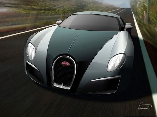 Bugatti Super Cars as Wallpaper, Blue Car in the Run, Black and Straight Road
