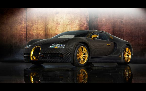 Buggati Veyron in Black and Yellow, a Super with Sharp Eyes, is Quite Scary at First Sight - HD Cars Wallpaper