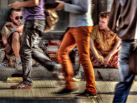 click to free download the wallpaper--Busy Street Wallpaper - People Come and Go in a Hurry, Indifferent to Each Other