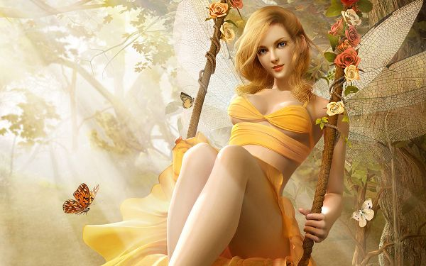 Butterfly Fairy in Yellow Dress, a Swift and Well-Liked One, Sunlight is All Over, She Looks Damn Good in This - HD Creative Cartoon Wallpaper