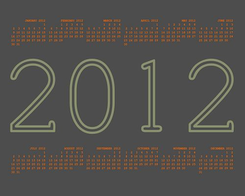 click to free download the wallpaper--Calendar Wallpaper - Every Month is Shown, the Year 2012 in the Middle, It is Easy and Impressive Post