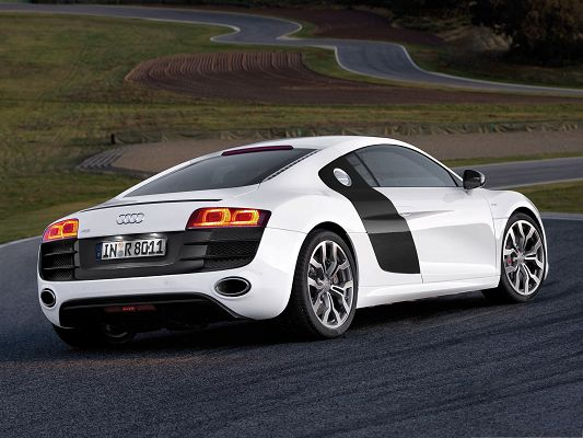 click to free download the wallpaper--Car Image for Desktop, White Audi R8 on Winding Road, Incredible Look