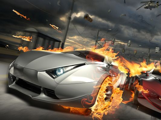 click to free download the wallpaper--Car Race Background, Super Car on Fire, Great Speed