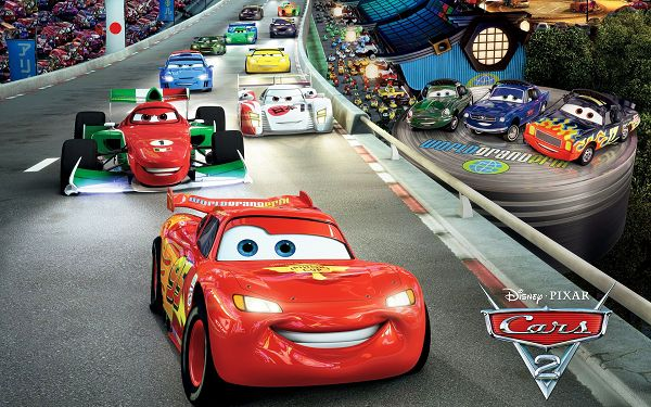 Cars 2 Race Post in 1920x1200 Pixel, the Car on a Slope, All in Different Facial Expressions, Competition is Severe - TV & Movies Post