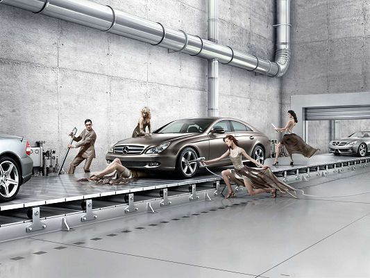 click to free download the wallpaper--Cars Wallpaper HD - Mercedes Benz Assembly Line, Gracefully Made