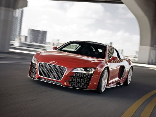 click to free download the wallpaper--Cars Wallpaper Widescreen, Audi R8 TDI in Incredible Speed, Nice and Impressive