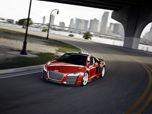 click to free download the wallpaper--Cars Wallpaper Widescreen, Audi R8 TDI in the Run, Like a Dancing Fire