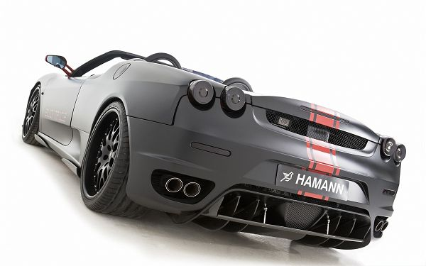click to free download the wallpaper--Cars Wallpaper Widescreen, Hamann Ferrari F430, a Black Miracle Indeed