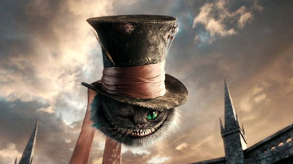 Cat in Alice in Wonderland HD Post in 1920x1080 Pixel, Eyes Are Generating Green Light, Mouth Fully Open in Smile, You Shall Burst into Laughter - TV & Movies Post
