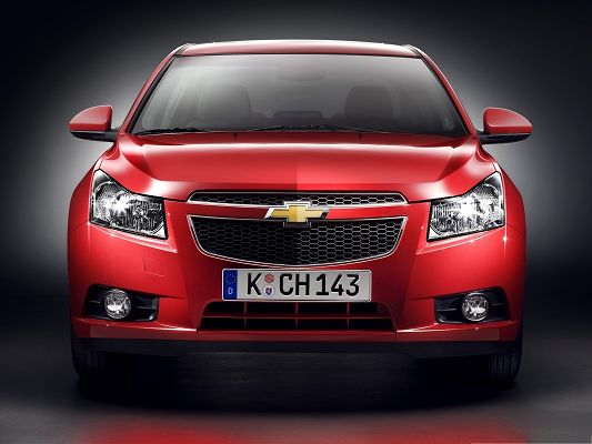 click to free download the wallpaper--Chevrolet Car Wallpaper, Red Super Car in the Stop, Glowing Body