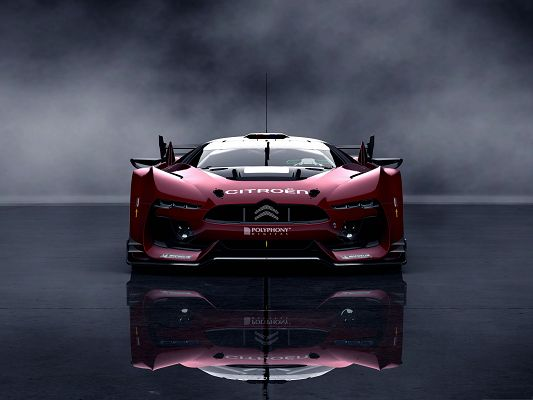 Citroen GT Race Car, Red Car in the Stop, Under the Dark Sky