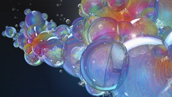 Colorful Bubbles Staying Together, Coming in Various Sizes, Background is Black, a Deep Impression - HD Computer Wallpaper