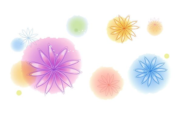 click to free download the wallpaper---Colorful Cartoon Flowers Surrounded by Colorful Circles, on White Setting, An Amazing Effect is Achieved - Cartoon Flowers Wallpaper