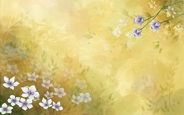 click to free download the wallpaper--Colorful Flowers in Full Bloom, Some Clear While Others Mere, the Whole Picture Impresses as Fresh and New - HD Colorful Painting Wallpaper