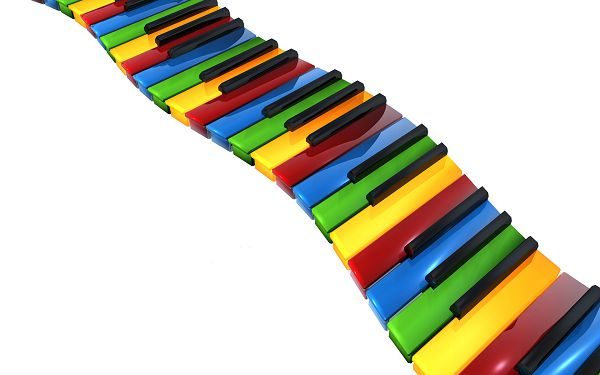 Colorful Piano Keys in Happy Dance, Must be Producing Beautiful Melody, Dance with Them - HD Creative Wallpaper