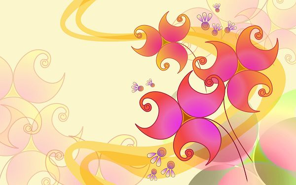 click to free download the wallpaper---Colorful Set of Flowers on Light-Colored Background, It Knows What to Focus on - Hand-Drawn Flowers Wallpaper