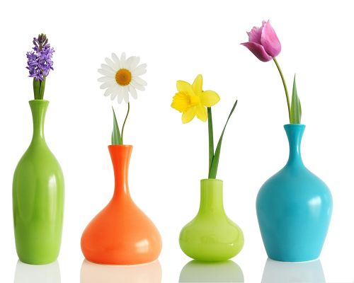 click to free download the wallpaper--Colorul Flower Vases, Colorful Flowers in Different Colored Vases, Incredible Beauty