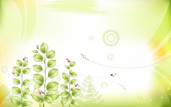 click to free download the wallpaper---Combining Green Leaves and Red Flowers, Setting is White, Things Are More Purer and Beautiful - Cartoon Flowers Wallpaper