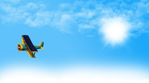 click to free download the wallpaper--Computer Background Wallpaper, Aeroplane in the Blue Sky, Fly Free!