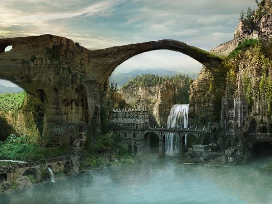 click to free download the wallpaper--Computer Background Wallpaper, Lost City, a Bridge Above the Waterfall