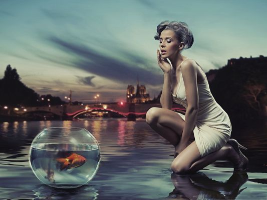 click to free download the wallpaper--Computer Wallpapers Free, Sexy Girl Making a Wish to the Golden Fish
