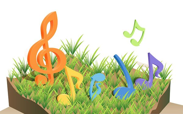 Computer Wallpapers HD - Colorful Musical Notes Dancing on Grass, Play in Tone