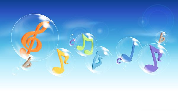 Computer Wallpapers HD, Colorful Musical Notes Flying in the Blue Sky