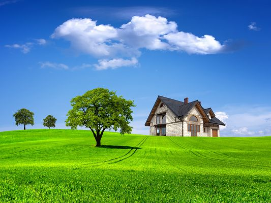 click to free download the wallpaper--Computer Wallpapers HD, House On The Hill, Under the Blue Cloudless Sky