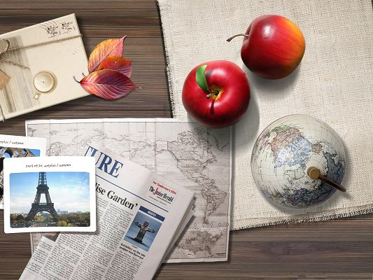 click to free download the wallpaper--Computer Wallpapers HD - Two Red Apples Around the Globe and Newspapers