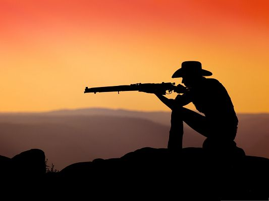 Cool Boys Wallpaper, Cowboy Shooting In the Sunset, Focused and Attentive
