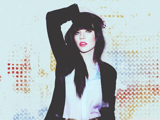 click to free download the wallpaper--Cool Carly Rae Jepsen, Black Suit and Red Lips, a Great Combination