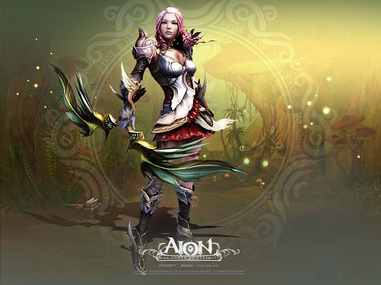 click to free download the wallpaper--Cool Game Post, Aion, the Cool Girl in Stand, She is Not Someone to be Looked Down Upon