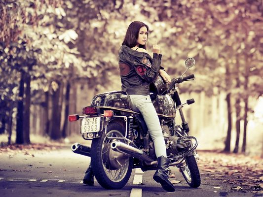 Cool Girl Pictures, Black Jacket and Long Black Hair, She Speaks the Best for the Motor