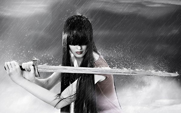 Cool Girls Picture, Beautiful Girl in Sword, Long Black Hair Covering Her Eyes, Heavy Rain
