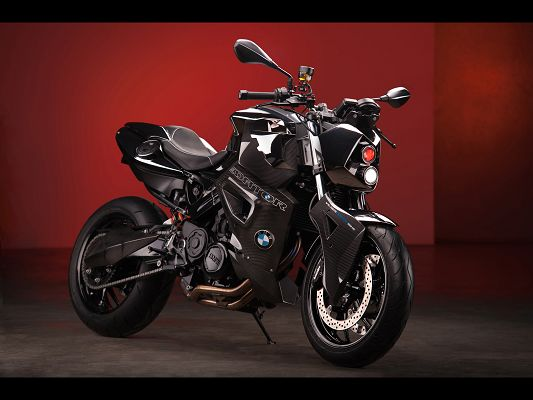 click to free download the wallpaper--Cool Motorcar Wallpaper of BMW F800 R Predator, Put Against Red Background, It is Warm and Energitic