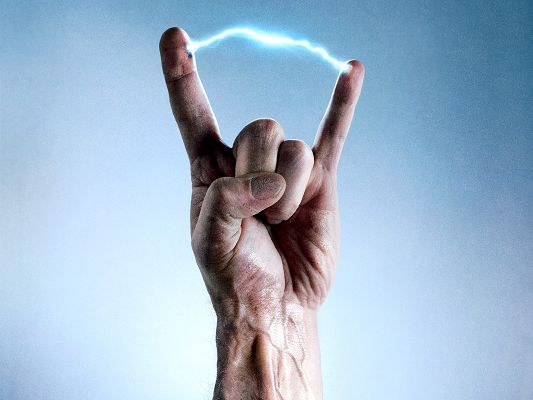 Crank High Voltage Post in 1600x1200 Pixel, an Electric and Magic Finger, Lightning is Breaking Out, Shall Fit Various Devices - TV & Movies Post