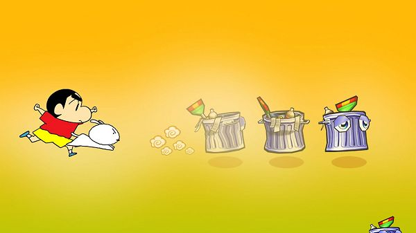 Crayon Shin Chan Rushing out with His White Puppy, Dustbins Are Jumping, What a Lively Scene! - HD Cartoon Wallpaper