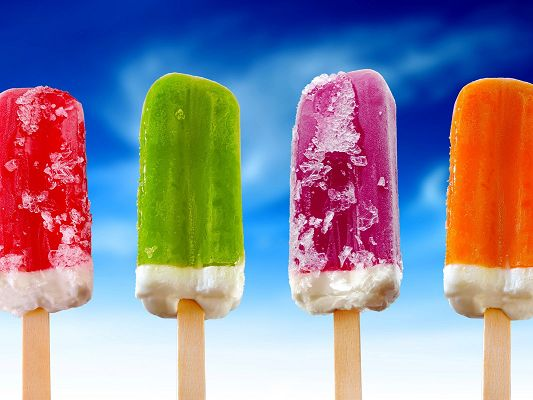 click to free download the wallpaper--Creative Wallpaper, 4 Colorful Ice Creams on the Blue Sky, Cool Summer