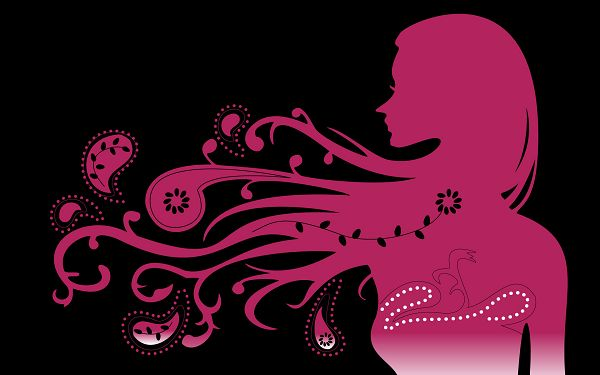 Creative Wallpaper - Gorgeous Girl Vector Post in Pixel of 1920x1200, Pink and Thin Silhouette on Black Background