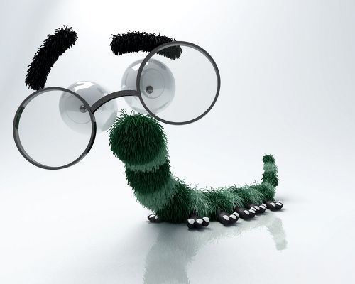 click to free download the wallpaper--Cute Animals Image, Funny Bug, Thin and Long Body, Big Glasses, Seem As If Smiling