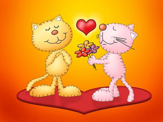 click to free download the wallpaper--Cute Animals Wallpaper, Two Cats in Love, Fresh Flowers and My Heart for You