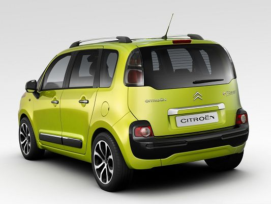 click to free download the wallpaper--Cute Cars Background, Green Citroen Car on White Background, Nice Look