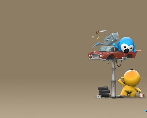 click to free download the wallpaper--Cute Cartoon Pics, koala Busy Fixing Its Car, Lend Him a Hand