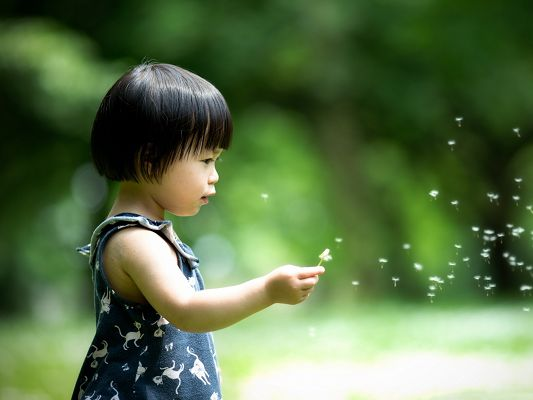 click to free download the wallpaper--Cute Little Girl, Playing with Bubble Machine, Producing a Large Amount