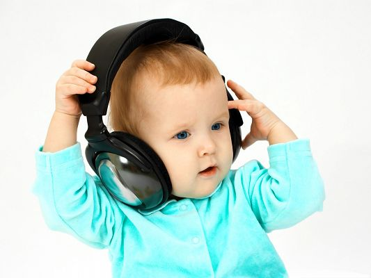 click to free download the wallpaper--DJ Baby Image, Baby Boy in Earphone, Born to be Someone
