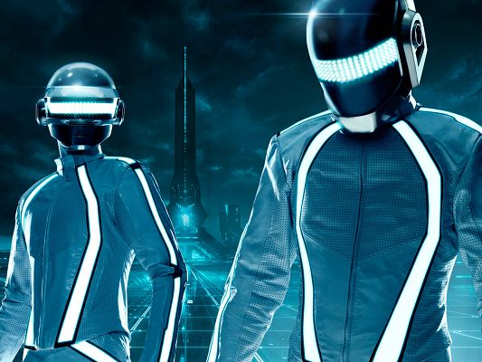 click to free download the wallpaper--Daft Punk Duo Tron Legacy Post in 1920x1440 Pixel, Two Smart Robots Are Watching Things Out, You Bet Everything is Fine - TV & Movies Post