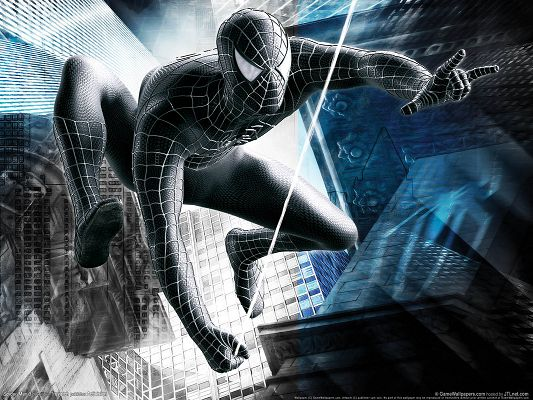 click to free download the wallpaper--Dark Spider Man Post in 1600x1200 Pixel, Man is on a Certain Building, Black and White in Style, He Will be a Fit - TV & Movies Post